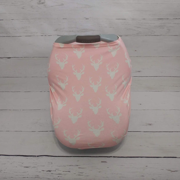 READY TO SHIP - Stretchy Car Seat Cover - Pink Buck