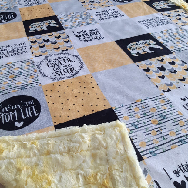 READY TO SHIP - Designer Minky Blanket - Mom Life//I gotta good heart//Yellow  - Throw Size