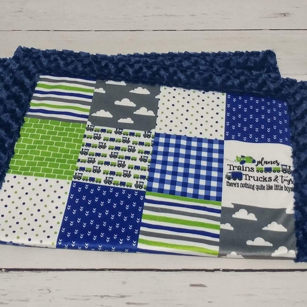 READY TO SHIP - Designer Minky Blanket - Planes & Trains