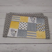 QUICK TURNAROUND - Designer Minky Blanket - Stay Free Little Bee - Baby Size