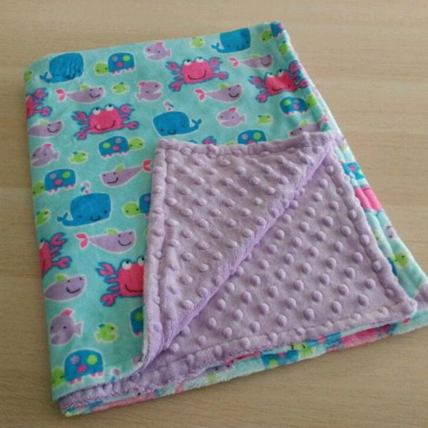 READY TO SHIP - Minky Blanket - Go Fish - Car Seat