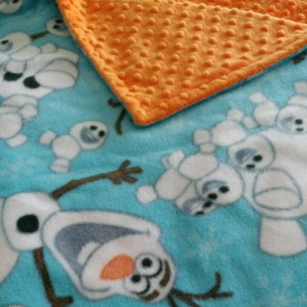 READY TO SHIP - Fleece/Minky Blanket - Olaf - Toddler