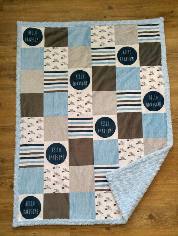 READY TO SHIP - Designer Minky Blanket -  Hello Handsome - Crib Size
