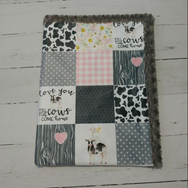 Designer Minky Blanket - Love You Till the Cows Come Home - Pink