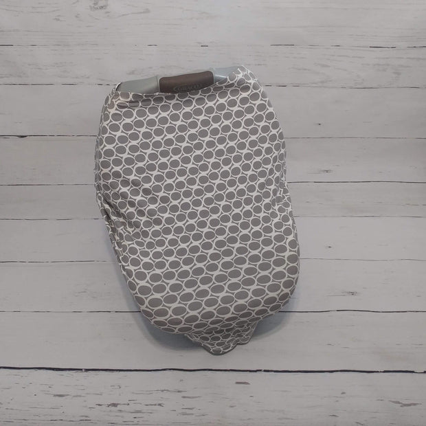 READY TO SHIP - Stretchy Car Seat Cover - Grey Circles