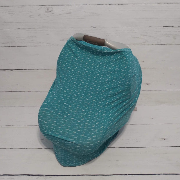 READY TO SHIP - Stretchy Car Seat Cover - Teal Arrows