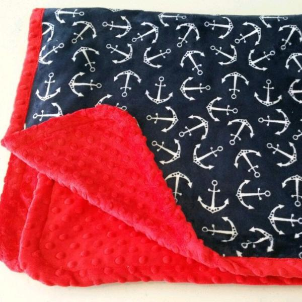 READY TO SHIP - Minky Blanket - Anchors  - Baby