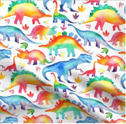QUICK TURNAROUND - Designer Minky Blanket - Rainbow Dinos - Child