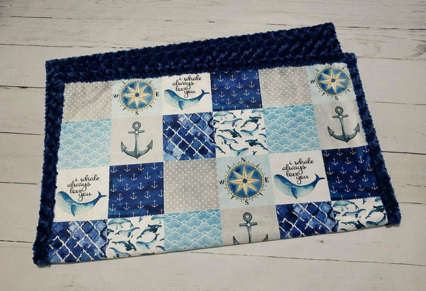 READY TO SHIP - Designer Minky Blanket -  I whale always love you - Crib Size