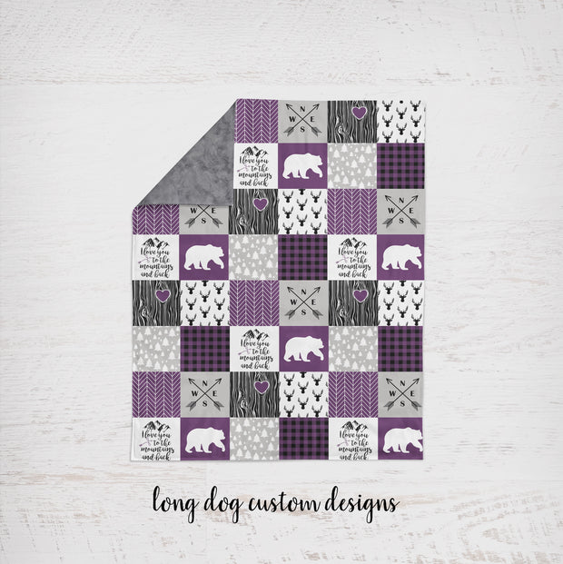 Designer Minky Blanket - Love you To The Mountains - Plum