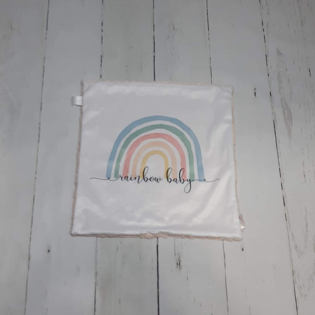 READY TO SHIP - Designer Minky Taggie - Rainbow (Neutral)