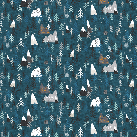 Stretchy Car Seat Cover Designer - Forest Peaks - Midnight Blue