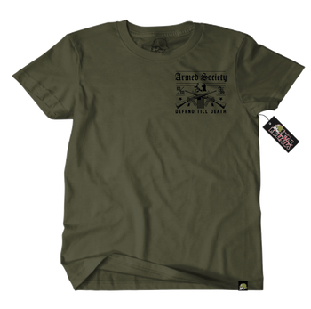 Metal Mulisha Armed Society Defend T-Shirt Mens Back Military Green
