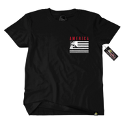 Metal Mulisha American Flag Liberty T-Shirt Front Pocket Tee Black Red White