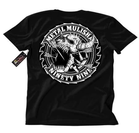 Metal Mulisha Saw blade T-Shirt Back Black and White arrows and horns on skull