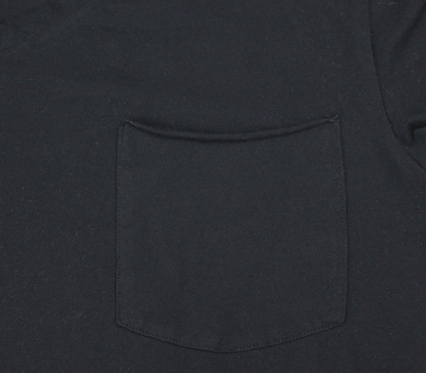 Close up of our pocket, v-neck t-shirt made of black cotton.