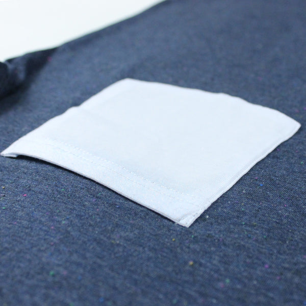 A premium, unisex t-shirt made of blue cotton with a white pocket.