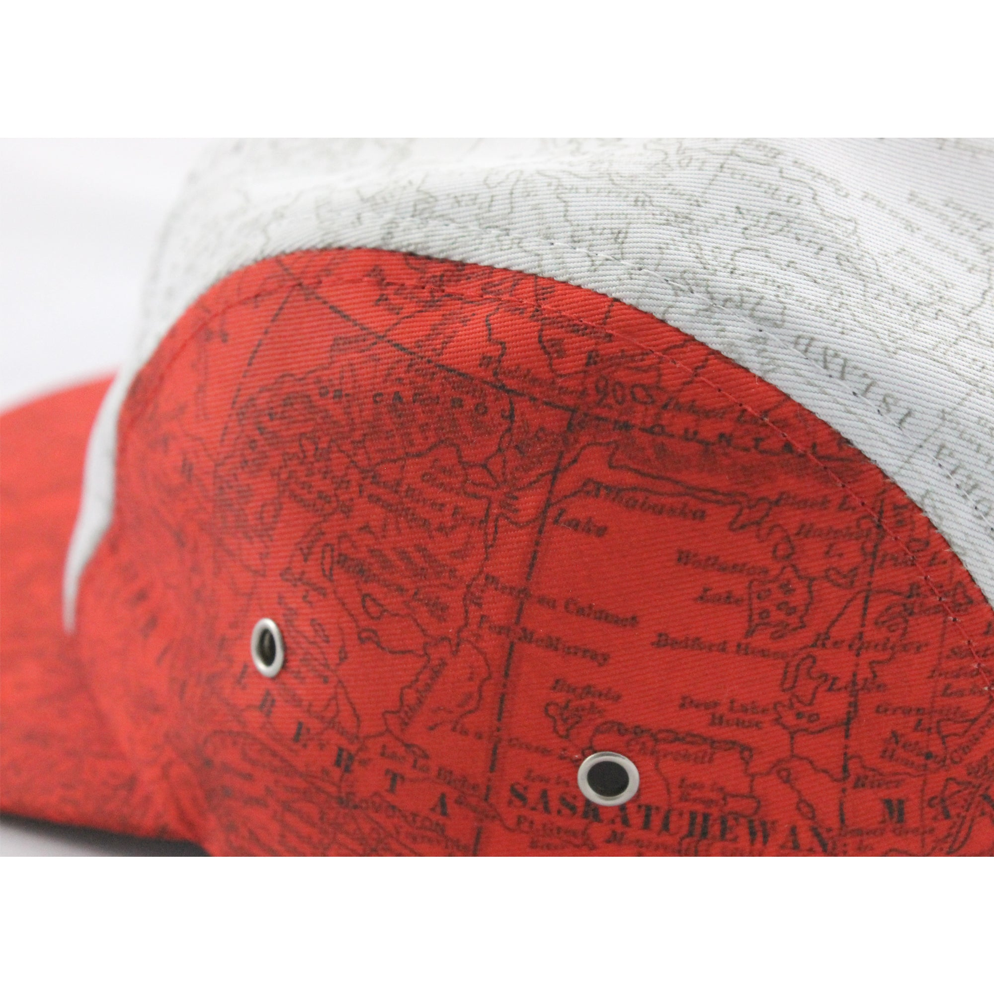 Canadian Map Print 5 Panel Cap detail.
