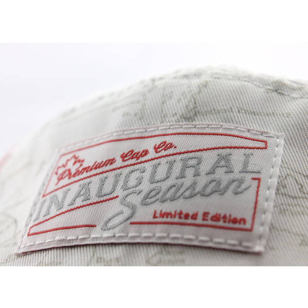 Canadian Map Print 5 Panel Cap label detail.