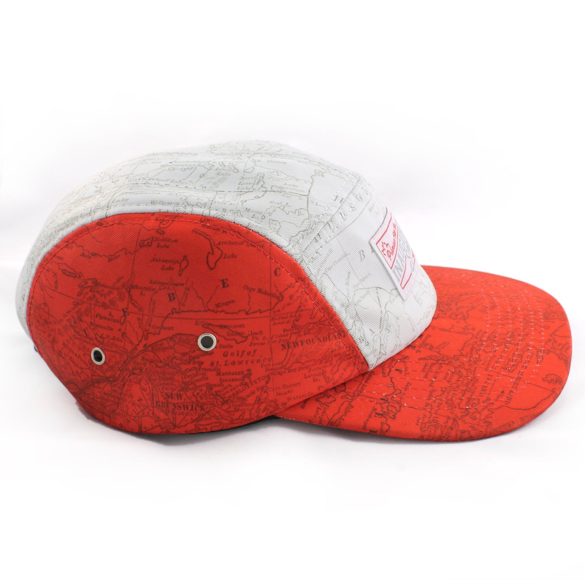 Canadian Map Print 5 Panel Cap from the side.
