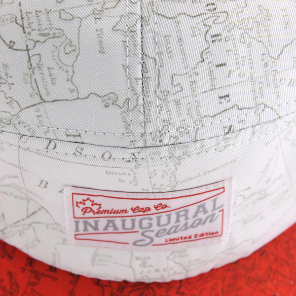 Canadian Map Print 5 Panel Cap from the top.