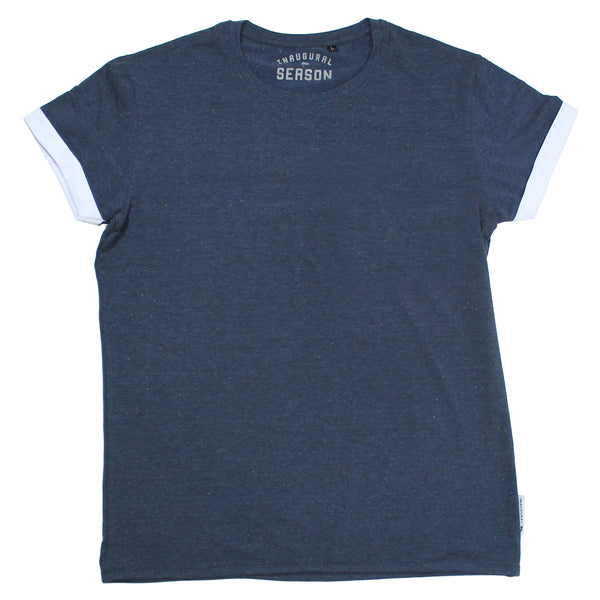 A premium, unisex t-shirt made of blue cotton on a white background.