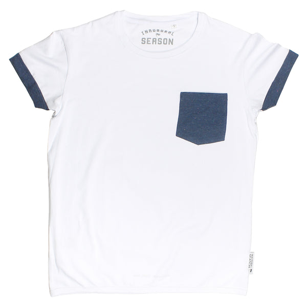 A premium, unisex t-shirt made of white cotton with a blue pocket.