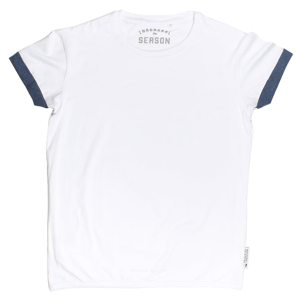 A premium, unisex t-shirt made of white cotton on a white background.