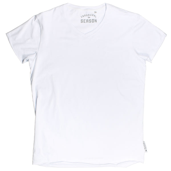 A premium, v-neck t-shirt made of white cotton on a white background.