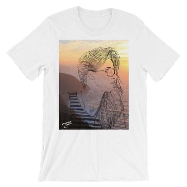 A white tshirt with a print of a girl and sunset. On a white background.