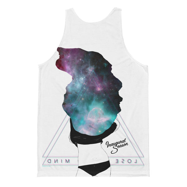 A white tanktop with a print of a space woman, on a white background