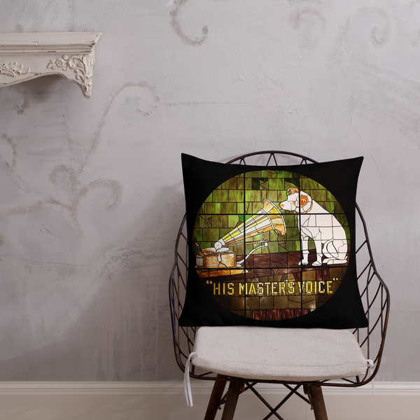 Premium HMV® 'Little Nipper Stained Glass' Throw Pillow (Victorville® Collection)