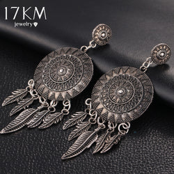 Dream Catcher Bohemia Vintage Leaf Feather Dangle Earrings