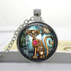 Steampunk Cat Necklace Glass Vintage Pendant