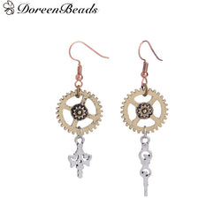 Steampunk Antique Bronze Gear Earrings