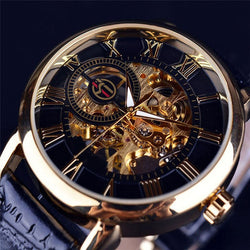 New Mens Steampunk Skeleton Stainless Steel Automatic Mechanical Wrist Watch
