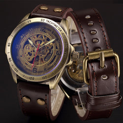 Automatic Steampunk Skeleton Mechanical Watch Men Bronze Leather