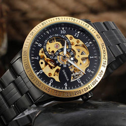 Vintage Black Gold Men's Skeleton Wrist Watch Stainless Steel Steampunk Automatic