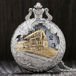 Vintage Steampunk Silver Gold Carved Train Quartz Pocket Watch