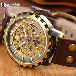 Steampunk Leather Band Mens Automatic Mechanical Watch