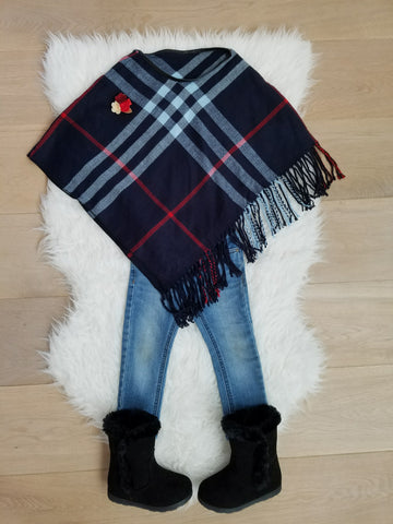 NAVY GIRL PLAID PONCHO