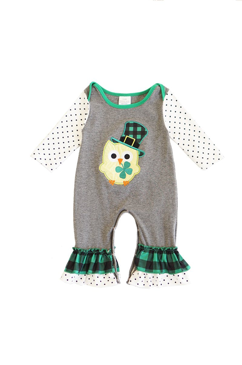 Owl Grey and Green Clover Baby Romper - ARIA KIDS