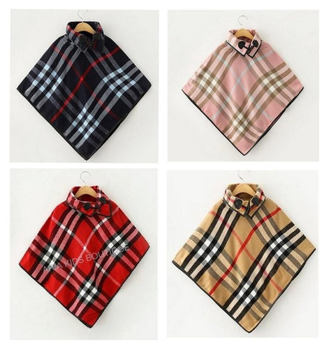 Girls Size - ARIA Plaid Collared Poncho - in 4 Colors - ARIA KIDS
