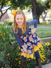 "Navy/Yellow Polka Dot Floral Ruffle Dress with 5"" Hair Bow - ARIA KIDS"