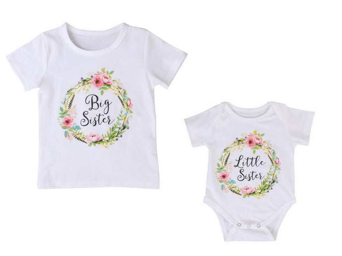 Floral Wreath - Big Sister Shirt Little Sister Romper - Sibling Outfits - ARIA KIDS