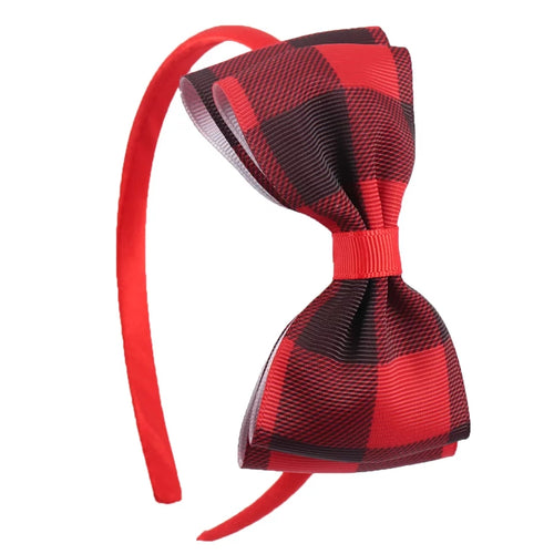 Buffalo Plaid Girls Headband in Red & Black - ARIA KIDS
