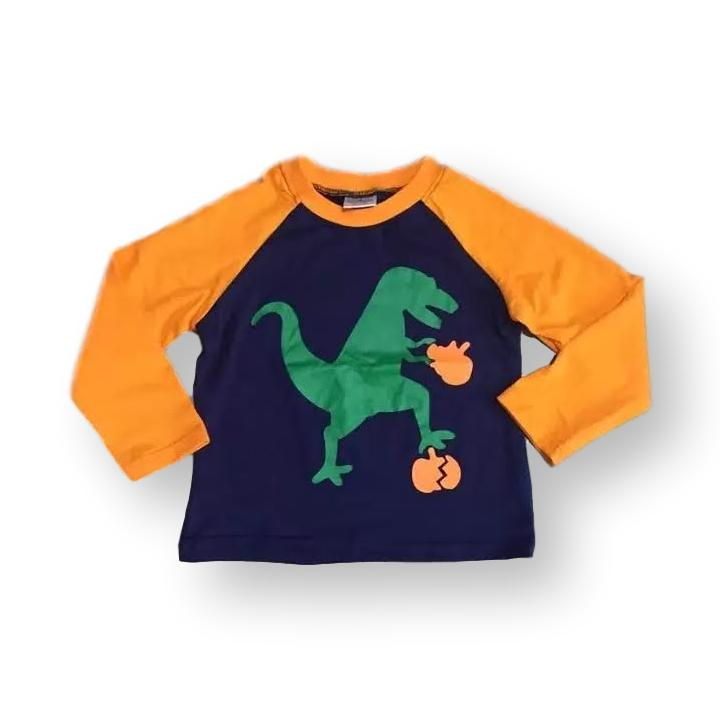 Dinosaur Orange Pumpkin Shirt - ARIA KIDS