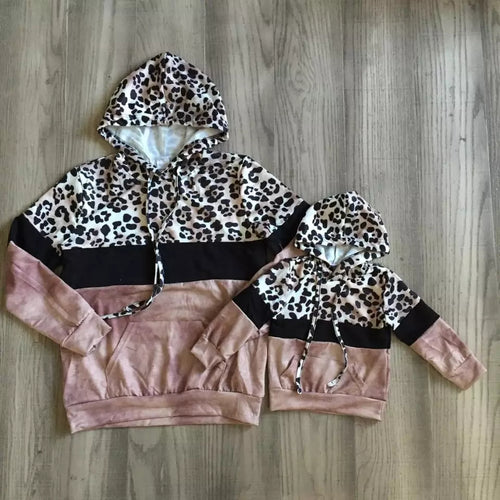 Mommy and Me Leopard Dusty Pink Tie Dye Hoodies - ARIA KIDS