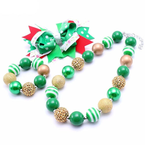 Green/Gold Xmas Chunky Necklace - 3 Piece Set - ARIA KIDS