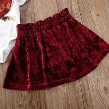 Heart Flutter Sleeve Romper + Velvet Skirt 3-Piece Set - ARIA KIDS